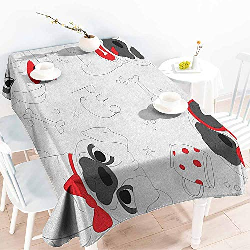 Spill-Proof Table Cover,Pug Dogs in Various States Sad Happy Cool Excited Dog Bone Dotted Mug Caricature Style,Fashions Rectangular,W54x90L Black Red White