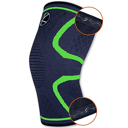 Recovery Knee Compression Sleeve Support for Running, Arthritis, Basketball, Crossfit, WOD, Meniscus Tear, ACL, Pain Relief, Injury, Women, Men, Kids - Non Slip Lightweight Athletic Brace (XS Green)