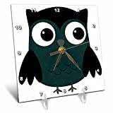 3dRose dc_61030_1 Cute Steel Blue Diamond Patterned Owl-Desk Clock, 6 by 6-Inch