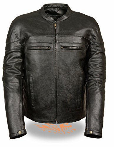 Milwaukee Leather Men's Sporty Scooter Crossover Leather Jacket (Black, L)
