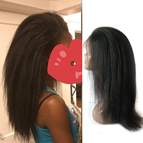 Enoya Hair Best Italian Yaki 360 Lace Frontal Wig Pre Plucked Brazilian Remy Lace Human Hair Wigs for Black Women 180 Density (12'') by Enoya