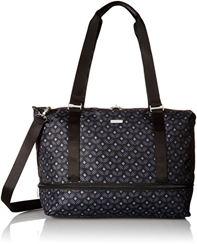 Baggallini Expandable Carry on Duffel, Black Diamond Print Multi
