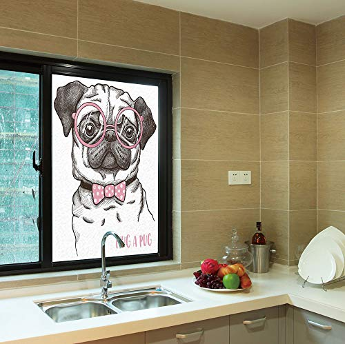 C COABALLA Frosted Window Film,Pug,for Shop Restaurant Home,Cute Pug with Pink Bow Tie Oversized Glasses,24''x36''