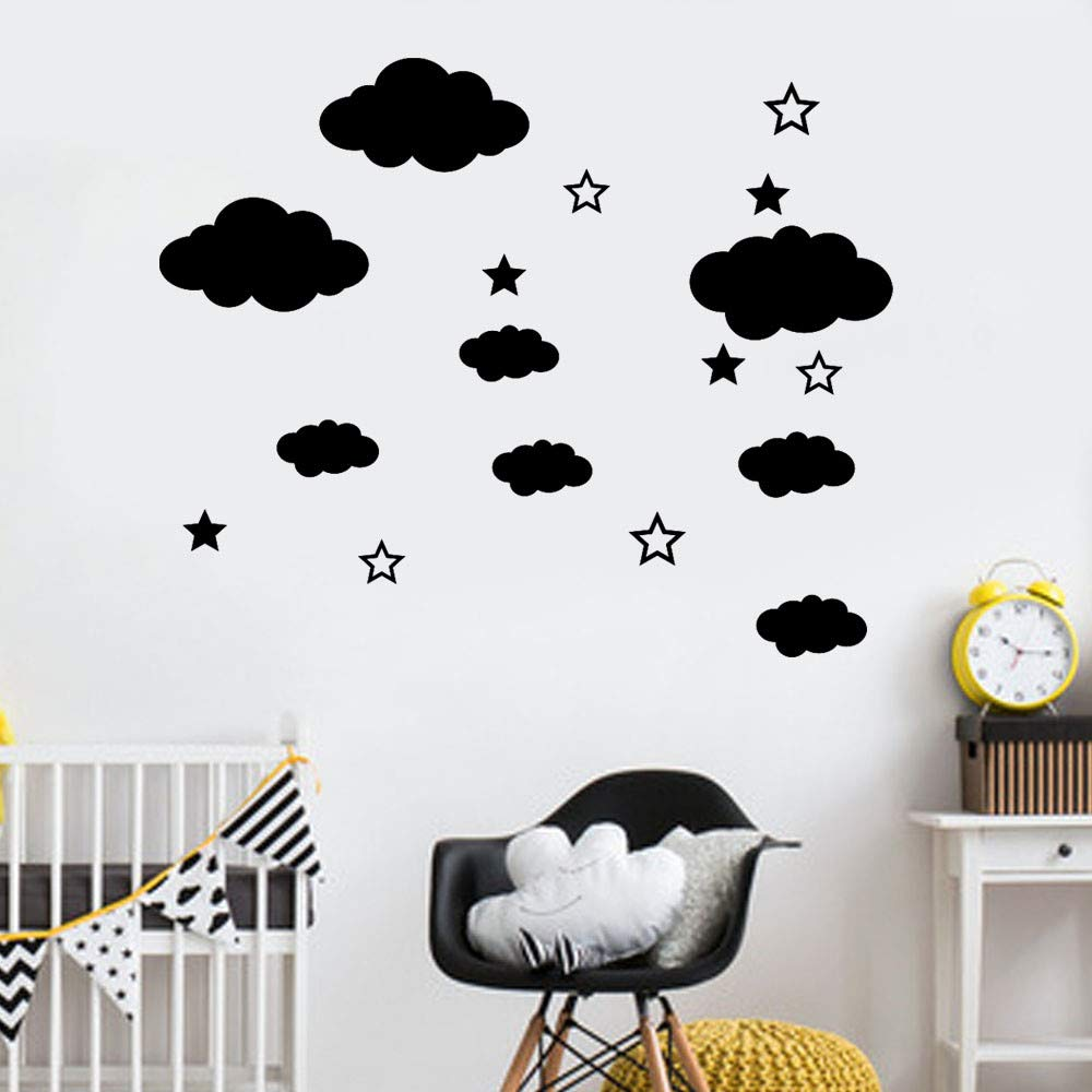 DIY Wall Sticker - Saihui - Moon and Stars Decals Cloudy Sky Baby Room Wall Decal Children Gift Bedroom Nursery Playroom Art Murals Decor (Black)