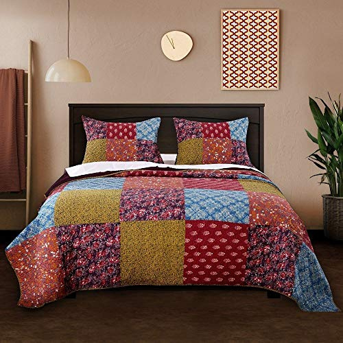 (3 Piece Nomadic Tradition Rustic Patchwork Quilt Set, Country Farmhouse Style Multicolor King Bedding Set, Large Scale Floral Foulard Print Assembled Patches Constructed Heirloom Quality Home Decor)