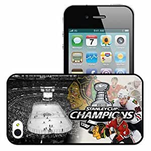 Personalized iPhone 4 4S Cell phone Case/Cover Skin Chicago Blackhawks Sporty Black