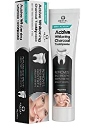 ACTIVATED CHARCOAL TEETH WHITENING TOOTHPASTE [COCONUT OIL] Kids & Adults -Destroys Bad Breath - Best Natural Activated Vegan Black Tooth Paste Whitener - Mint Flavor - Removes Coffee Stains (3.7oz)
