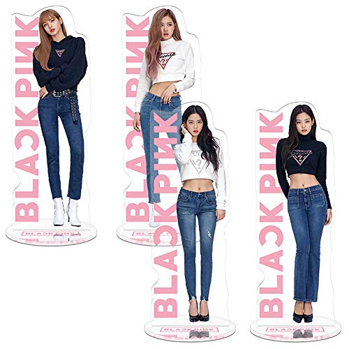 Youyouchard Kpop Blackpink Acrylic Plastic T-Shaped Character Image Display Stand Lisa Rose Jennie Standing Plates Deco Fans Gift(4pcs-2)