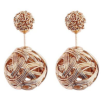 2d94844a5 Buy SODIAL(R) Golden Sodialrwomen Crystal Double Ball Earrings Jewelry  Silver Online at Low Prices in India | Amazon Jewellery Store - Amazon.in