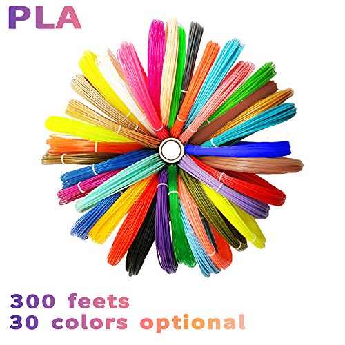 Beyond Silver Pen - 7TECH 3D Pen/Printing/Drawing Pen Filament Refills PLA 1.75mm 30 colors, 300 Feet with 280 Stencil E-book (wood,silver,gold,copper,6 Fluo,20 Common),High-Precision Diameter Filament for Tecboss Nulaxy