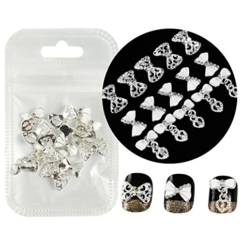 30pcs of 3 Different Bow Tie Alloy Heart Pendant 3D Nail Art Rhinestone Charms DIY Decoration