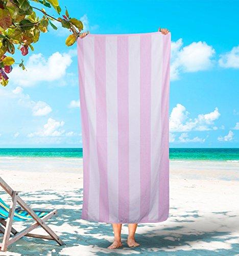 (Silken Luxury Cabana Beach Towel 100% Turkish Cotton Soft Striped Towels (Pink, 1))