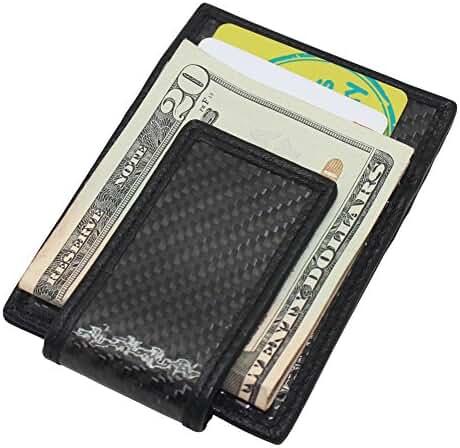 Boshiho® Mens Carbon Fiber Money Clip Wallet Matte RFID Blocking Card Case Holder