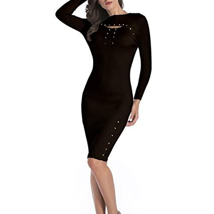 9deb4a44cb Image Unavailable. Image not available for. Color: Women Dress Sexy Cut  Neck Long Sleeve ...