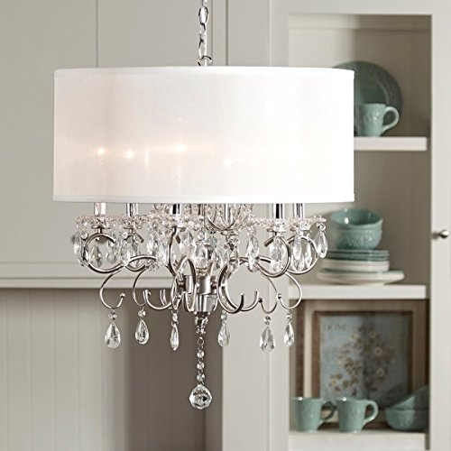 Silver Mist Hanging Crystal Drum Shade Chandelier, Add Style and Sophistication to Any (Light Fixture Silver Mist)