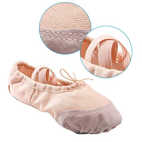 Panegy - Bailarinas Ballet Zapatillas Suela de Piel Punta Reforzada Zapatos de Danza Baile Gimnasia para Niña - EU 30 Rojo Rosa de carne