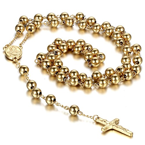 Cupimatch Mens Gold Tone Stainless Steel Religious Rosary Cross Crucifix Pendant Long Beaded Link Chain Necklace