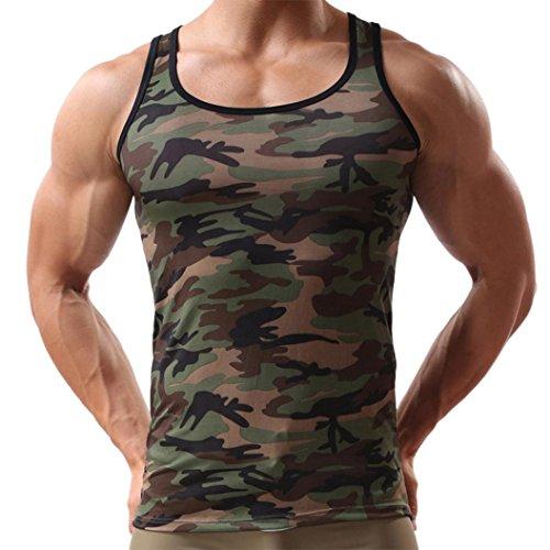 zarupeng Camisetas Deportivas Hombre, Top sin mangas de ropa deportiva de camuflaje chaleco militar sin mangas para hombres Camouflage