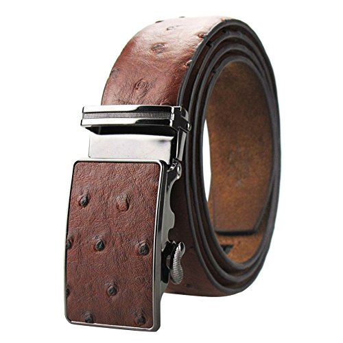Men's Dress Leather Belt Brown Ostrich Embossed with Ratchet Automatic Buckle 49