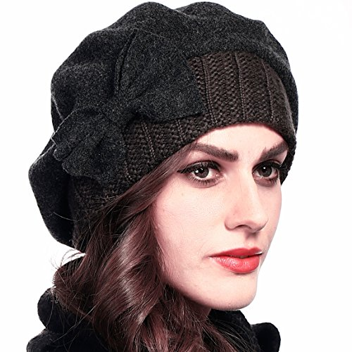 Women Wool Beret Knit Cap with Bow (Grey)