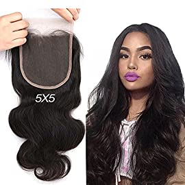 Greatremy Body Wave 5×5 Lace Closure with Baby Hair Virgin Brazilian Human Hair Free Part Natural Color 12inch