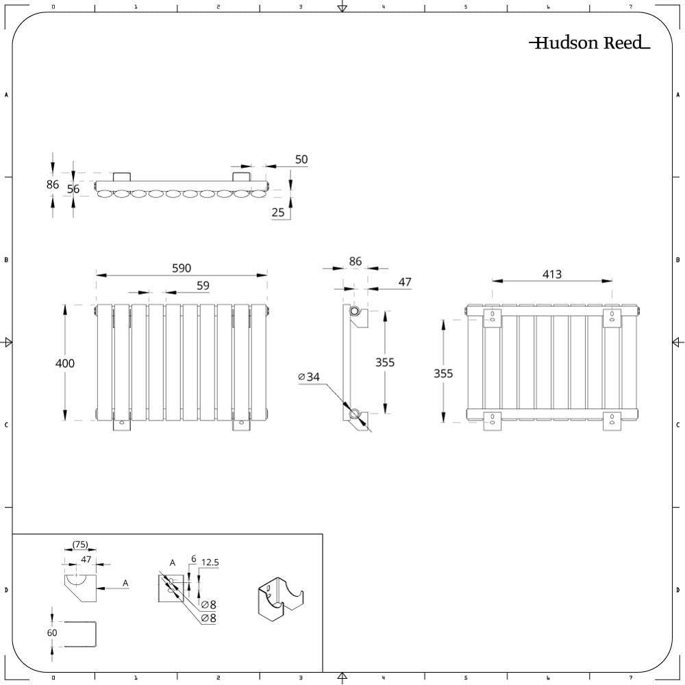 Radiateur Design Horizontal Compact Hudson Reed Vitality 40 x 41,5cm Anthracite