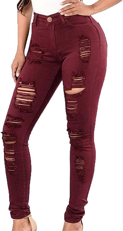 HX fashion デニムジーンズレディースパンツホールストレッチパンツスキニーデニムジギングハイウエストファッションブランド無地ボタン付きポケットペンシルパンツ