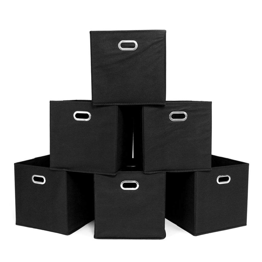 Foldable Fabric Storage Bins Set of 6 Cubby Cubes with Handles Polyester & Fiberboard Storage Box
