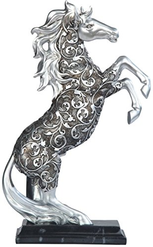 (George S. Chen Imports SS-G-11679 Silver Toned Engraved Horse Standing Statue, 12