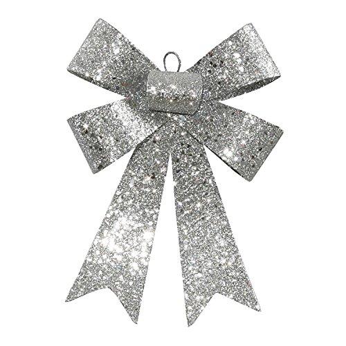 Amazon Vickerman Glitter 5 Loop Bow Decorative Christmas Ornament 7 Silver Home Kitchen