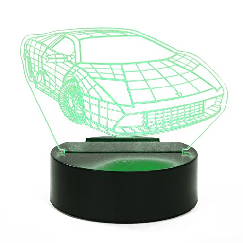 - LAYOER 3D LED Optical Illusion Desk Table Lamp Night Light 7 Colors USB Powered Touch Button Sports Car iPhone Holder Creative Gift (Car)