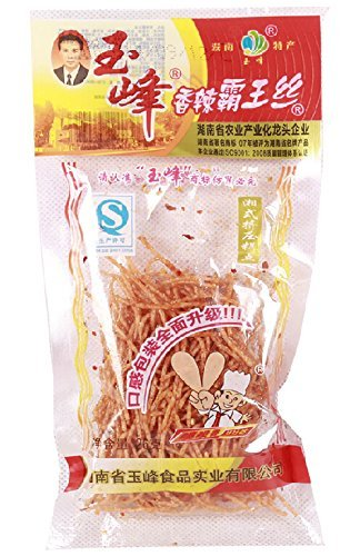Domilove® Chinese Special Spicy Snack Food: Gluten Wei Long La Tiao Xiang La Ba Wang Si Pack of 10 (玉峰香辣霸王丝 26g X 10 Pack)