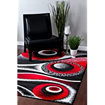 1504 Red 2'0x3'4 Red Black White Area Rug Abstract Carpet