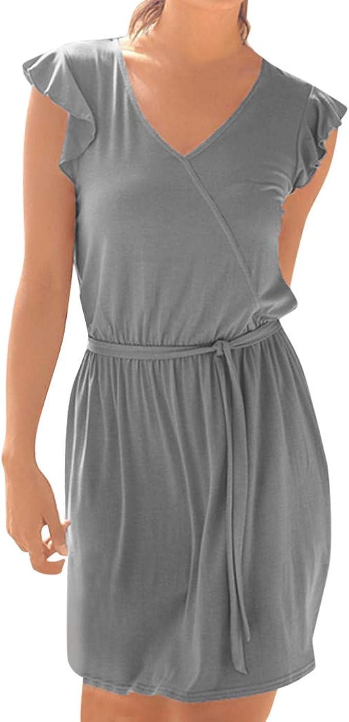 Goosuny Strandkleid Damen Boho Kleid V-Ausschnitt Sommerkleider