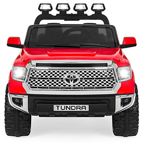Best Choice Products 12V Kids Battery Powered Remote Control Toyota Tundra Ride On Truck w/ LED Lights, Music, Storage Compartment - Red]()