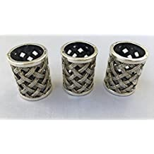 3 PCS Large Antique Viking Dreadlocks Beard Beads Silver Metal Braided Chains Woven Basket Hair Paracord Bracelet DIY Design 17.5 MM Hole By Mello Products