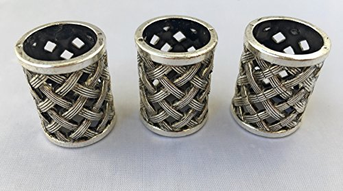 3 PCS Large Antique Viking Dreadlocks Beard Beads Silver Metal Braided Chains Woven Basket Hair Paracord Bracelet DIY Design 17.5 MM Hole By Mello (Hole Metal Bead)