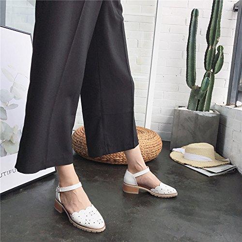 LIVY sandalias romanas 2017 verano nuevo color sólido en los zapatos con los zapatos de hebilla doble Baotou Blanco