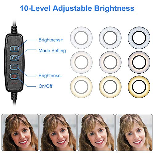 Rovtop Selfie Ring Light with Gooseneck Stand & Cell Phone Holder for Live Stream Makeup, 3 Light Modes 10-Level Brightness for iPhone Android