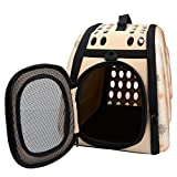 Mogoko Collapsible Hard Cover Sturdy Pet Travel Carrier - Portable Pet Kennel Comfortable EVA Transporter Airline Approved Animal Crate Cage for Dogs Cats Rabbits Small Pets(L Size - Champagne)