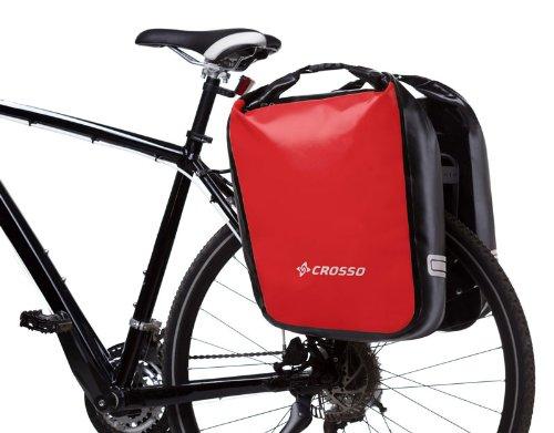 CROSSO® DRY SMALL 30 / DRY BIG 60 Borse Biciclette (30/60 litri Tarmaulin 2 Borse Strisce riflettenti Impermeabile), Crosso Farbe:red;Crosso - Größe:60L