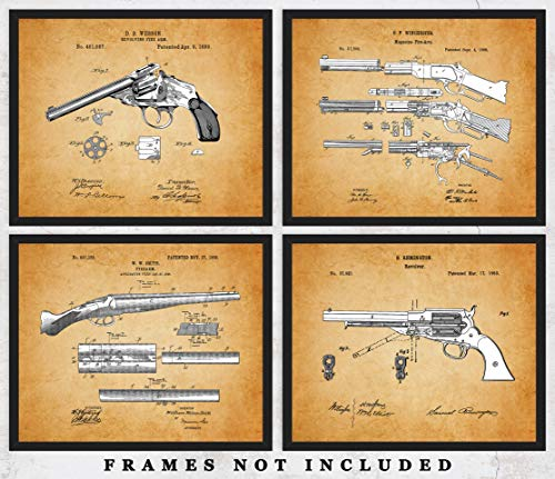 Vintage Guns of the West Patent Wall Art Prints: Unique Room Decor for Men & Women - Set of Four (8x10) Unframed Pictures - Great Gift Idea for All Gun Owners & Enthusiasts!
