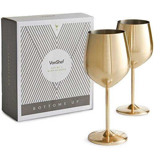 Vonshef Gold Wine Glasses  Shatterproof Stainless Steel  Set Of 2