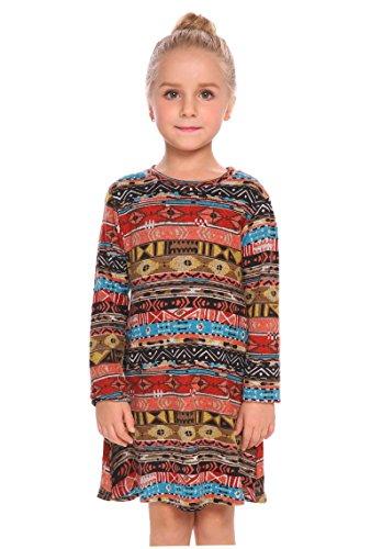 Arshiner Little Girls Long Sleeve Sundress Chevron Printed A-line Skater Christmas Dress Pattern 120(Age for (Girls Fall Dress)