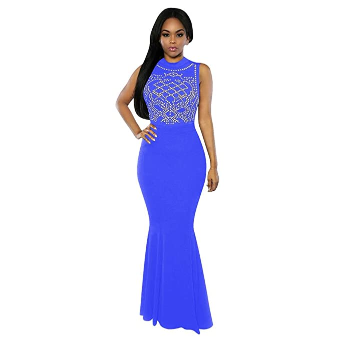 97d421630cdb Qisc Women's Long Fitted Beading Sleeveless Mermaid Evening Gown Dress (S,  Blue)