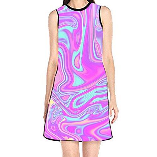 Liquid Rainbow Printed Loose Sundress Sleeveless Summer T-Shirt Dress for Womens - Liquid Jersey Dress