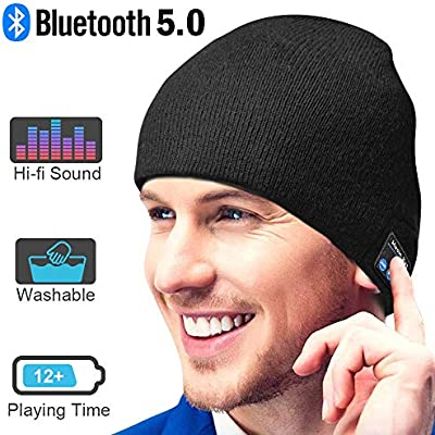 Winter Knitting Cap Bluetooth Earphones Wireless Headphone Beanie Music Hat Upgraded Bluetooth 5.0 Beanie Gift for Men and Women WINONLY Bluetooth Beanie Hat Built-in Microphone Hand-Free Call
