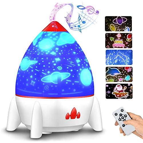 Bedside Lamp, Small Rocket Projection Lamp, Rotating Atmosphere Lamp with Starry Sky Fantasy, Rechargeable USB Lamp (White)