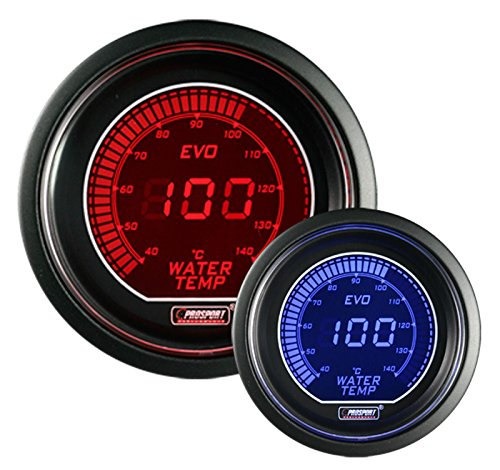 Water Temperature Gauge- METRIC Celsius Electrical Red/blue EVO Series 52mm (2 1/16