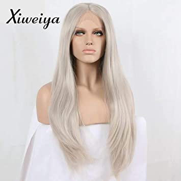 Amazon Com Xiweiya Long Grey Hair Silver Platinum Blonde Lace